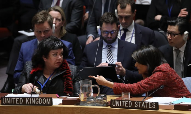US ambassador to the UN and Karen Pierce, UK ambassador to the UN, during a security council meeting on 10 April 2018 on suspected chemical attacks in Douma, Syria.